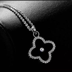 Black Clover Rhinestone Necklace